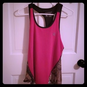 Pink and camo athletic tank